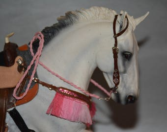 Breyer traditional Western gaming accessories set! Pink and Brown- sparkle & fringe