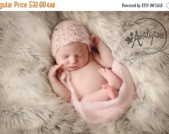 Happy Birthday sale Small mohair and silk hat for newborns, beanie or bonnet