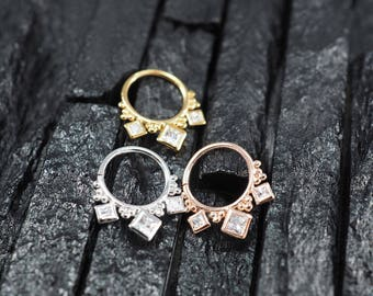 SQUARE CZ diamond hoop Daith earring / Cartilage / Septum ring / Nose ring