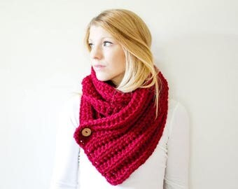 FLASH SALE ribbed chunky crochet scarf button cowl scarf - cranberry - the OXFORD