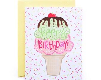 Happy Birthday Ice Cream Cone Birthday Card
