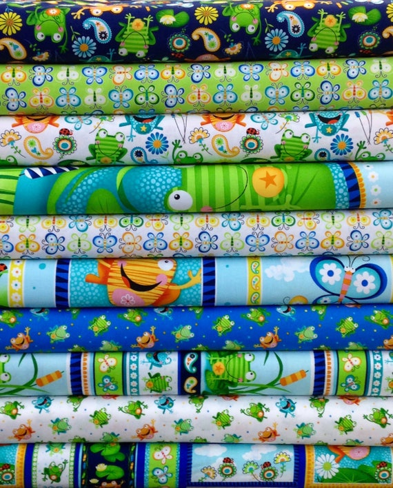 Frogs Lily Pad Pond Fabric Panel Toad Ally Terrific By