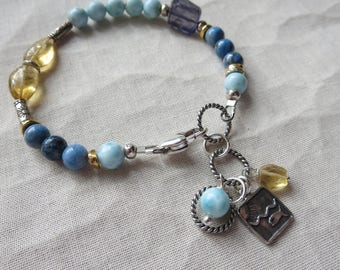 AAA 6MM  Dominican Larimar Sterling Charm Bracelet with Denim Lapis, Citrine, Iolite, Sterling, Gold Vermeil