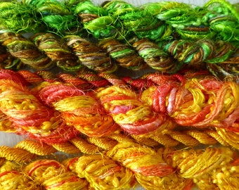 6 skeins of hand dyed silk threads a great mix of weights and textures - threads 44