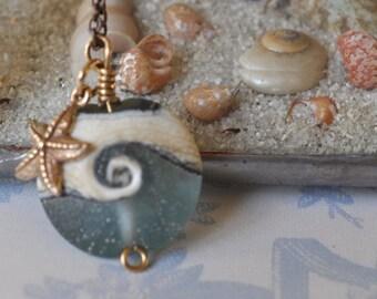 ocean wave starfish necklace, ocean wave lampwork bead and bronze starfish necklace, beachcomber ocean wedding, ocean necklace, wave jewelry
