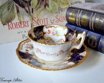 Coalport Cobalt Blue Batwing Vintage Teacup and Saucer, Antique Cabinet Tea Cup Set, English Bone China Dinnerware, ca. 1891-1919