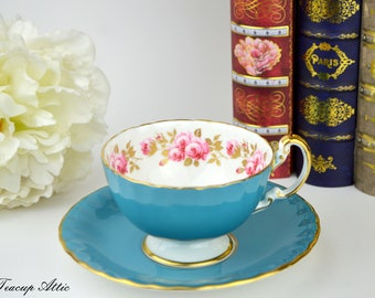 Aynsley  Blue and White Teacup and Saucer Set With A Band Of Roses, English Bone China Tea Cup, Replacement China,  ca. 1934-1939