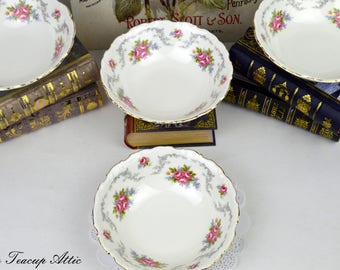 Set of 4 Royal Albert Vintage Tranquility Coupe Cereal Bowl, English Bone China Bowl, Replacement China, ca. 1969-2001