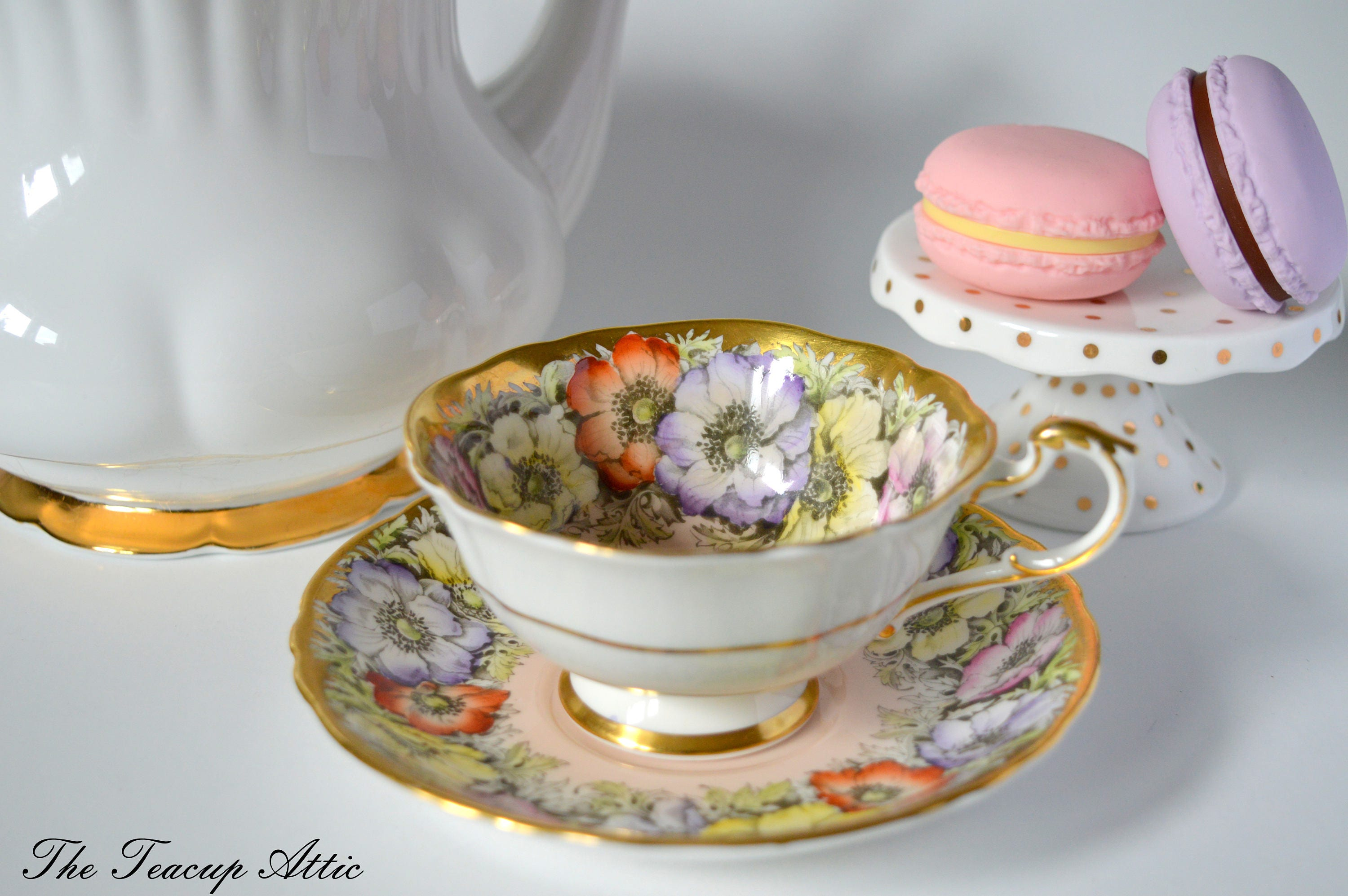 Paragon Floral Teacup and Saucer Set With Amemone Flowers and Heavy Gold Trim, Bone China Cabinet Tea Cup Set , ca. 1960-1963