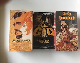 Lot of 3 El Cid, Camelot and The Ten Commandments (VHS)