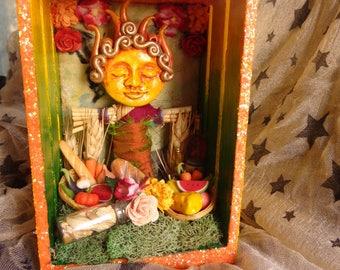 Lughnasadh Lammas First Fruits Small Box Shrine.  Nicho.  Shadow Box. Mix Media.