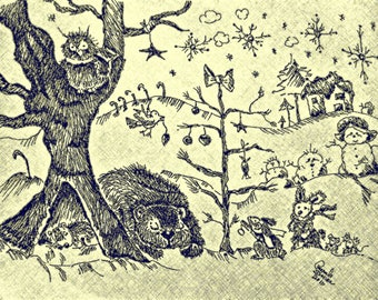 Pen and Ink Illustration, Woodland Critters waiting for Chritmas