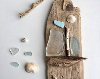 sea glass driftwood art, eco friendly beach shack decor, beach decor, one of a kind