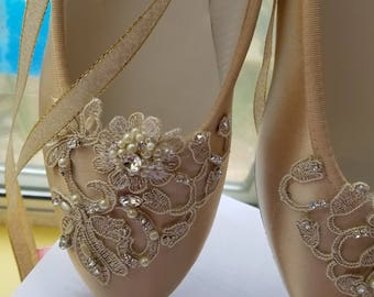 Gold Champagne Ballerina style Shoes Satin Lace Appliqué Crystals Pearls, Lace Up Ribbon Ballet Style Slipper, Comfortable Wedding Shoes