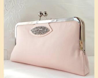 Bridal clutch, pink purse, wedding purse, pink clutch, bridesmaids gift, bridal purse, personalised clutch, Art Deco diamante trim