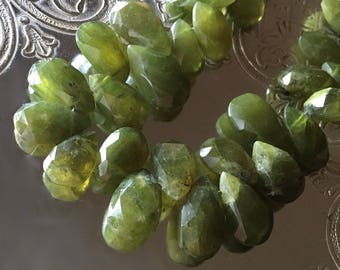 Rich Olive Vesuvianite Pears Translucent Large Faceted Natural Gemstone Beads