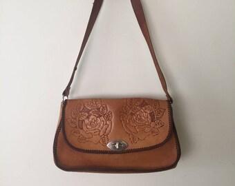 Bohemian Rose bag   1970s tooled leather shoulder bag   70s boho floral purse