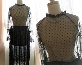 Bohemian Goth Gothic Black Lace high collar Sheer Beach Coverup Wedding Dress Maxi Dress Long Sleeves Women's Robe Bridal Slip Gypsy Shabby