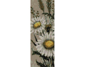 Daisies 2 Peyote Bead Pattern, Bracelet Cuff, Bookmark Pattern, Seed Beading Pattern Miyuki Delica Size 11 Beads - PDF Instant Downloa