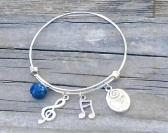 "Bangle Bracelet - ""Music"" - Expandable Stainless Steel with Lapis Lazuli Bead"