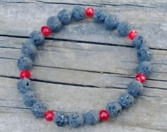 Natural Lava Rock and Red Austrian Crystal Beaded Stretch Bracelet in multiple sizes