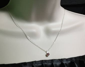 "Garnet Pendant Hessonite Red Orange Sterling Silver with 18"" necklace ogs1-7"