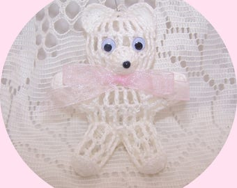 Victorian Crochet Baby Pink Teddy Bear Ornament