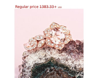Summer Sale! Lily Rose Flower Ring, Wave Diamond Ring, Morganite Gold Ring, Unique Engagement Ring, Flower Engagement Ring
