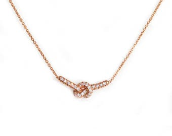 Love Knot Necklace, 14K Rose Gold Necklace, Love Knot Pendant, Diamond Necklace, Anniversary Gift, Love Knot Jewelry  14K White Gold