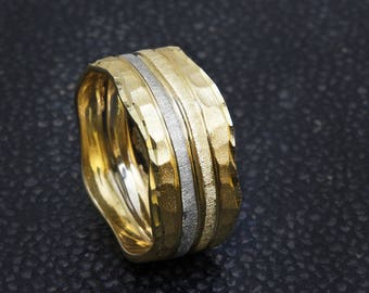 10% OFF Hammered Ring, 14K Gold Wedding Band, Unique Wedding Ring, Two Tone Ring, Textured Ring, Womens Wedding Band, Unique Rings.