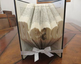 Folded Book Art, READ, Origami, paper folding, paper folded flower, custom word name picture date