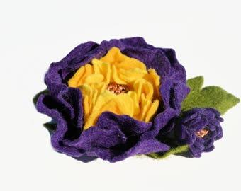 Felt Peony Brooch Pin, Purple Flower Brooch, Pin, Wool Felt Peony Brooch