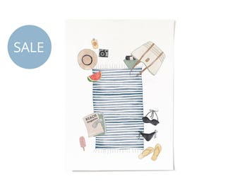 ON SALE! Day At The Beach Print A3