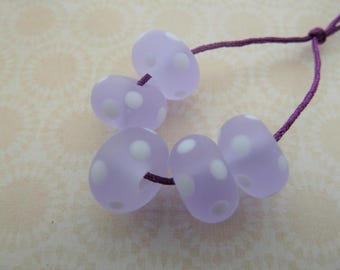 handmade lilac frosted spot lampwork glass beads, UK set white polka dot