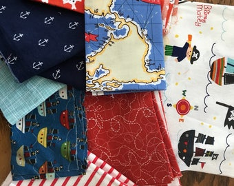 Fabric Scraps Destash Pirates Nautical Ahoy Boys Quilting Cotton Scrap Pack