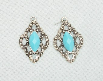 Silver Tone and Turquoise Pendants - 2 pcs - Jewelry Making Supplies