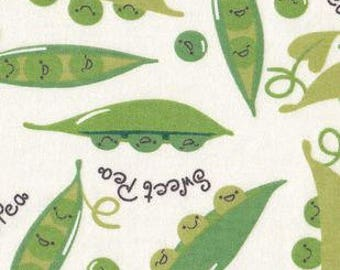 Snuggle Flannel Fabric - Sweet Pea on White - Sold by the Yard