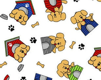 Snuggle Flannel Fabric - Puppies on Dog House - 32 inches