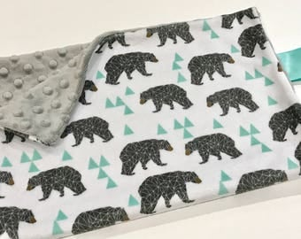 Geometric Woodland Bears Baby Boy MINKY Lovey Blanket, MINI Minky Baby Boy Blanket, Taggie Blanket, Grey and Mint Green Woodland Baby Gift