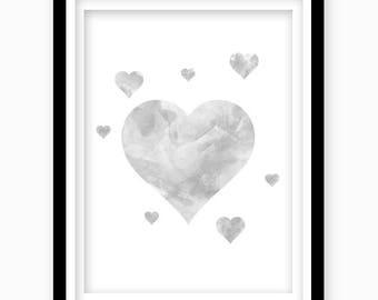 Watercolor Heart Print, Dark Gray Heart, Digital Download, Gray Nursery Wall Decor, Printable Wall Art, Gray Boys Bedroom Decor, Nursery Art