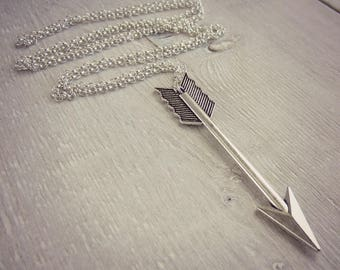 Arrow Necklace - Silver Necklace - Layering Necklace - Statement Necklace - Simple Boho Necklace - Long Necklace - Sweater Necklace