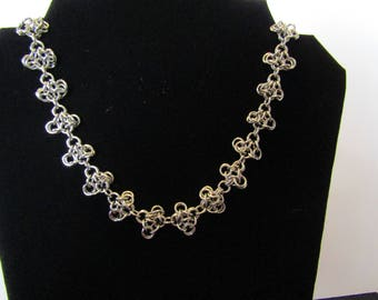 Turtle weave necklace, stainless steel necklace, chainmaille necklace