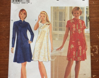Uncut!! Simplicity Sewing Pattern 7114 Misses' Asian Inspired Dress Size 8, 10, 12