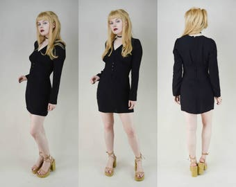 60s Vintage Ossie Clark Black Moss Crepe Button Front Mutton Sleeve Mini Dress S