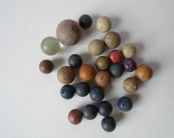 Instant collection of vintage marbles glass and clay