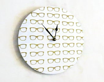Retro Wall Clock,  Vintage Eye Glasses, Gold and White Home Decor, Decor and Housewares, Home and Living