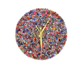 Large Wall Clock, Recycled Art, Home and Living, Paper Clock, Eco Friendly Decor,  Home Decor