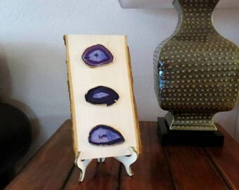 Agate Slices, Purple and Gold Agate, Reclaimed Wood Home Decor, Home and Living, Wall Art