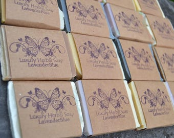 FOURTEEN Guest Soaps -   soap favors  -  Luxury Shea and Cocoa Butter soap -  Handmade in BC, Canada