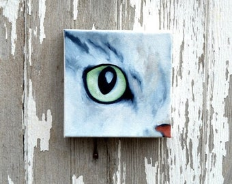 ON SALE Original oil on canvas, cat painting, wall art, home decor - Eye See You series eight